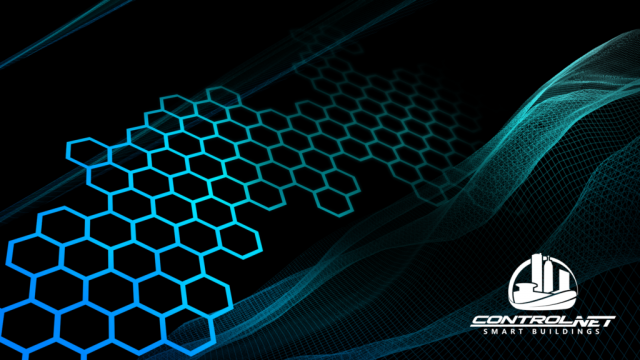 ControlNET Wallpaper with black background and cyan graphic elements