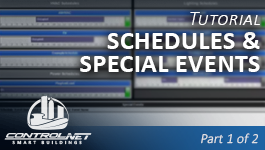 Set up time schedules and make special event exceptions on a ControlNET BAS.